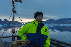 Mudderbugt; early morning departure. (apcmitch) Tags: sailing sea icebergs mountains glaciers greenland early morning eastgreenland2014 dolphin sonya7