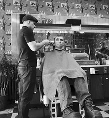 The Barber Shop (Kent DuFault) Tags: barber barbershop men man people candid portrait streetportrait blackandwhite bw