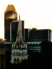 Glow in the Light (Steve Taylor (Photography)) Tags: panpacific meritus church standrewscathedral hotel architecture asia singapore city glow steeple digitalart black brown green teal glass trees dawn sunny sunshine