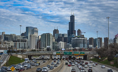 Quitting time in the Second City (jfre81) Tags: chicago illinois jfk john kennedy expressway freeway highway traffic cars skyline cityscape buildings sky clouds james fremont photography jfre81 canon rebel xs eos