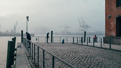 Dog Day (Tom Levold (www.levold.de/photosphere)) Tags: fuji hamburg x100f harbour sonnenaufgang nebel fog sunrise hafen docks hund street people candid dog