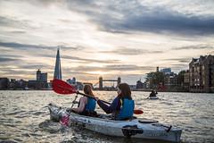 (Wanderer and Wonderer) Tags: kayak river thames london england explorersconnect towerbridge bridge sunset theshard