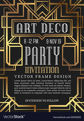 Art Deco-Advertisement (evan.barreiro) Tags: party card invitation retro frame art deco design vector vintage decoration border decorative background style wedding illustration modern geometric shape graphic template old gold abstract ornament gatsby element pattern banner elegant invite geometry outline classic luxury backdrop great line label stripes nouveau decor