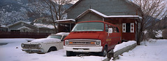 Hedley Fire Dept (Orion Alexis) Tags: film 35mm analog negative kodak portra 400 hedley bc canada snow winter panorama widescreen cinematic classic car old retro vintage small town