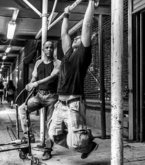 The New Yorkers - Construction Gym (François Escriva) Tags: street streetphotography us usa nyc ny new york people candid olympus omd photo rue light black white bw noir blanc nb monochrome sidewalk manhattan construction fun funny gym worker