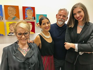 Bernice Steinbaum, with Carla Gonzalez, Enrique Gomez de Molina, Kaitlyn Riopelle at the opening of Aimé Mpane's Colonialism exhibit.
