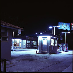 Gas station near my old apartment. (Brjann.com) Tags: red fujifilm fujichrome fuji medium format film analog nightscape night scene cinematic haunting moody sombre midnight long exposure slide e6 transparancy 6x6 toronto ontario canada city urban cityscape