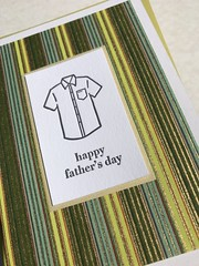 Father's Day shirt card (artnoose) Tags: wholesale card chiyogami yuzen letterpress pinstripes vertical stripes gold green collared butch shirt dad day fathers