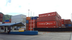 Containers -- lots and lots of them in the port of Pago Pago