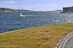 Inbound from the Kattegat (AntyDiluvian) Tags: sweden uddevalla bohuslän harbor port marstrand fjord boat smallboat motorboat