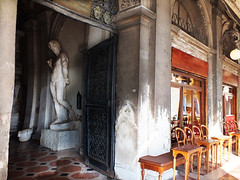 A mysterious shady place on a hot day (Izzy in Venezia) Tags: venezia venise venice piazza san marco place saint librairie library libraria marciana alessandro vittoria café chioggia