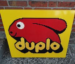 Happy Easter! (Fantastic Brick) Tags: lego duplo display sign shop shopdisplay glued bunny giant