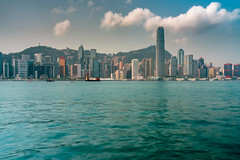 Hong Kong City skyline in morning. View from across Victoria Harbor Hongkong. (MongkolChuewong) Tags: aerial architecture asia asian background beautiful blue building buildings business china city cityscape day district downtown evening harbor harbour hong hongkong kong landmark landscape metropolis modern morning mountain night office panorama panoramic peak peaks reflection scene scenic sea sky skyline skyscraper sunrise sunset tourism travel traveler urban victoria view