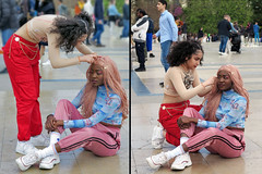 Final touches to the girlfriend's wig (pivapao's citylife flavors) Tags: paris france trocadero girl streetartist