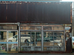 yarn and cotton store (kasa51) Tags: building architecture store shop door window yarn cotton yokohama japan 糸綿店 rusty ruined reflection