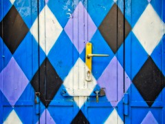 Harlequin Door (Steve Brewer Photos) Tags: door paint harlequin harlequinpattern pattern blue blues colour color colourful colorful handle lock diamond diamonds hinges hinge bolt padlock hungary budapest