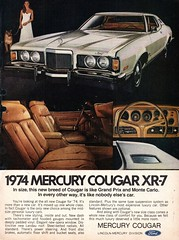 1974 Ford Mercury Cougar XR-7 Coupe USA Original Magazine Advertisement (Darren Marlow) Tags: 1 4 7 9 19 74 1974 f ford m mercury c cougar x r xr xr7 coupe car cool collectible collectors classic a automobile v vehicle u s us usa united states american america 70s