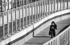 'Focus and Determination' (Canadapt) Tags: woman exercise walkway fence curves bw magoito portugal canadapt