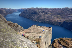 Pulpit Rock - Norway (sdhweb) Tags: preikestolen prekestolen pulpitrock pulpit rock mountains mountain outdoors nature scenery stavanger altitude heights cliff fjord norway norge lysefjorden water waterfall