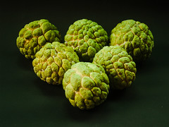 Sugar apple or custard apple with  green exotic tropical Thai  fruit (www.icon0.com) Tags: half gourmet studioshot white slice leave soft antioxidant biology reflection sugarapple annona raw thai brown delicious vitamin nutrition background tasty object cut luscious seed fruit cherimoya isolated composition vegetarian ripe exotic diet scaly organic green ingredient set nature leaf food tropical custardapple dessert round healthy juicy fresh sweet pulp stem