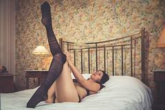 Laure (www.michelconrad.fr) Tags: bleu rouge jaune canon eos6d eos 6d ef24105mmf4lisusm 24105mm 24105 femme modele portrait studio noir pose lingerie home maison chezsoi sousvêtements bas collants