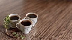 three white ceramic teacups on wooden surface - Credit to https://myfriendscoffee.com/ (John Beans) Tags: coffee cafe coffeebeans shopbeans espresso coffeecup cup drink cappucino latte