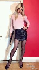 Legs & Leather (jessicajane9) Tags: tg crossdressing tgurl crossdress tranny cd trans m2f tv xdress travesti feminised transgender crossdresser transvestite femme leather tights feminization tgirl
