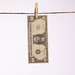 Dollar banknote hanging on a clothes line