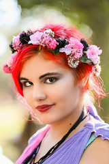 Maiden With Bright Red Hair (wyojones) Tags: texas texasrenaissancefestival toddmission texasrenfest renfest renfaire renaissancefaire faire renaissancefestival festival trf beauty girl woman shorthair beautiful pretty lovely gorgeous cute redhead browneyes lips flowers redhair maiden mole