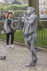 Busker near Pont au Double (cunningba) Tags: 2014 europe france notredamedeparis paris parvisnotredame pontaudouble busking mime ©2014barrycunningham
