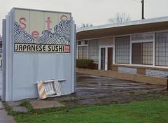 Sunnyvale, California (bior) Tags: pentax645nii pentax645 6x45cm ektachrome e200 kodakektachrome slidefilm mediumformat 120 sunnyvale street rain suburbs sushi restaurant seto