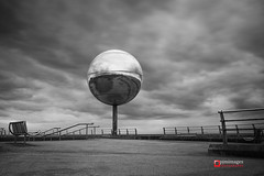 Giant Mirror Ball, Blackpool (@pjmimages) Tags: mirrorball blackandwhite promenade spinningball visitorattraction streetart blackpool longexposure beach giantmirrorball southshore landmark lancashire reflective pleasurebeach fylde movingball coast uk feature