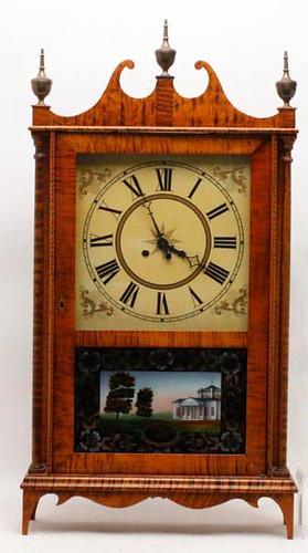 Tiger Maple Pillar & Scroll Mantle Clock ($420.00)