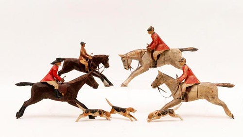 Carved & Painted Hunt Scene Figures, Lot of 7 ($336.00)