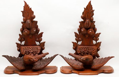 Pair of wooden shelves with decorative eagles ($644.00)