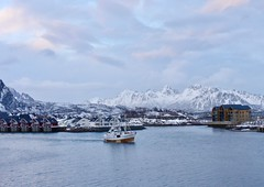 Farewell to Svolvaer (Kumukulanui) Tags: svolvaer nordland norway town fishing boat snow sea mountains cold flickrsbest arctic