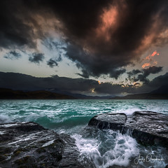 Torres splash (Jerzy Orzechowski) Tags: action torresdepaine sunset moody rocks water reflections chile green patagonia clouds orange waves