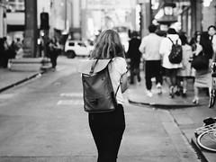One Way (McLovin 2.0) Tags: street candid urban streetphotography people city melbourne bokeh lights backpack olympus em1 45mm