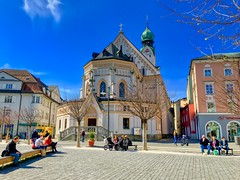 Parish Church St. Nicholas in Rosenheim, Bavaria, Germany (UweBKK (α 77 on )) Tags: parish church stnicholas saint nicholas gothic revival architecture building pfarrkirche kirche sankt nikolaus pfarrei neugotisch neugotik gott god christian christianity catholic religion religious heilig city urban street blue sky people rosenheim bavaria bayern germany deutschland europe europa iphone