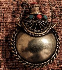 Silver Flask (clarkcg photography) Tags: silver silvercoloured flask keepsake necklace ornament silverwork lookingcloseonfriday
