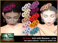 Bliensen - Jorinde - Veil with flowers (Plurabelle Laszlo of Bliensen + MaiTai) Tags: hair hairaccessories bliensen bliensenmaitai veil fascinator bridal wedding bride vintage widow salon52 secondlife sl
