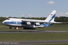 RA-82077 Antonov 124-100 Volga Dnepr Airlines Prestwick airport EGPK 12.05-19 (rjonsen) Tags: plane airplane aircraft aviation airliner landing flying cargoplane cargo freighter airside runway