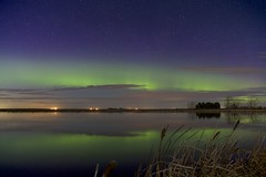 May 10 2019 (John Andersen (JPAndersen images)) Tags: aurora beiseker cattails clouds night pond reflections stars