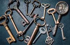 Collection of old keys from a bird`s eye view (Ivan Radic) Tags: dslr draufischt nikon nikond610 sigma35mmf14art sigmaart topview vintage vogelperspektive ancient antik antiquated antique birdseyeview bunch collection concept conceptual door familygoods gold guard iron keydetail metal metallic obsolescence obsolete oldkeys owner privateproperty reflex retro ring rust rusty security table unlock value warrior