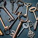Collection of old keys from a bird`s eye view