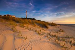 Bird prints at Bunbury (snowyturner) Tags: footprints beach dunes lighthouse australia clouds landscape sea coast grass
