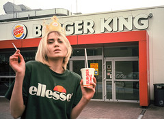 Queen of Burger King (Zew1920) Tags: ellesse burgerking fastfood queen canonae1 analog ishootfilm blond sharpasfuck
