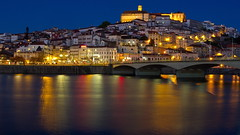 Coimbra evening (sonic182) Tags: coimbra portugal rio river mondego santa clara bridge ponte de night evening blue hour dusk reflection reflections long exposure old town city university