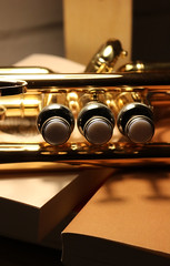Trumpet and book (pascal445) Tags: trompette trumpet music musique musicien musical jazz atmosphere musician pistons book books livres ombres shadows macro grosplan reflets lumiere light