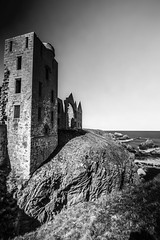 "fine art black & white long exposure of Slains Castle (New Slains Castle), Cruden Bay, Aberdeenshire, Scotland (grumpybaldprof) Tags: ""slainscastle"" ""newslainscastle"" ""crudenbay"" ""earloferrol"" dracula ""bramstoker"" baronial scottish aberdeenshire scotland castle fortress ""kingjamesvi"" ""northsea"" bowness collieston ""clanhay"" mood moody atmospheric ruined pile granite rock walls towers waves sea cliffs sky atmosphere vampire bw ""blackwhite"" monochrome architecture building ruins blackwhite ""blackandwhite"" noireetblanc ""fineart"" ethereal striking artistic interpretation impressionist stylistic style contrast shadow bright dark black white illuminated ""wideangle"" ultrawide ""longexposure"" ""neutraldensity"" nd aberdeen uk ""siorrachdobardheathain"" canon 80d ""canon80d"" sigma 1020 1020mm f456 ""sigma1020mmf456dchsm"""